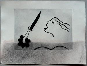 kvinde med kniv
