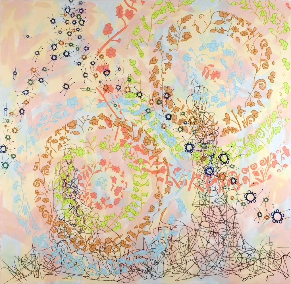 270x270 cm akryl på papir Pernelle Maegaard mindre